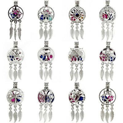 Silver Dream Catcher Beads Pearl Cage Pendant Leaf Feather Dangle Charms