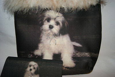 Fur Trimmed Lhasa Apso Reversible Purse and Wallet
