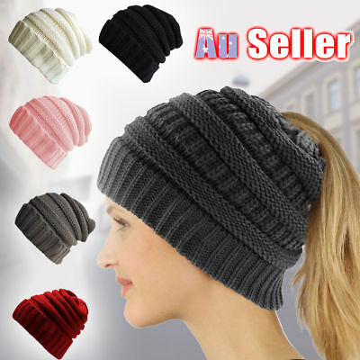 Women' Ponytail Beanie Skull Cap Winter Soft Stretch Cable Knit High Bun Hat Lot
