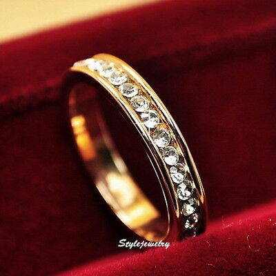 Gold Plated Made With Swarovski Crystal Wedding Eternity Ring Band Size 6 R8