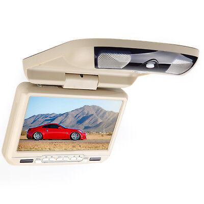 """Beige Tan 9"""" HD Screen Car Flip Down with DVD Player Roof Mount Overhead Ceiling"""