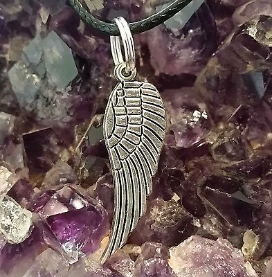 WOW - NEW ADORABLE SILVER PLATED WING CHARM PENDANT on 44cm BLACK CORD