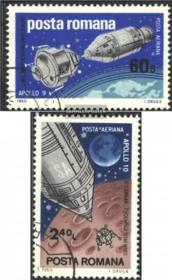 Romania 2779-2780 (complete issue) used 1969 Spaceships Apollo