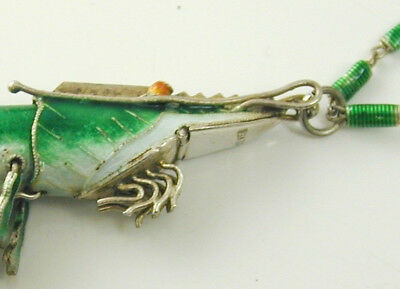 "Rare articulated prawn necklace pendant Chinese silver green enamel 24"" long"