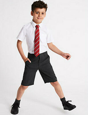 Boys School Shorts 2 Pack Grey Flat Front Ages Adjustable Waist 3-4 to 8-9 Years
