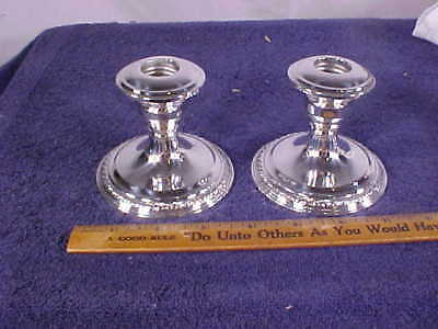 """Pair of STERLING Silver  """"Le PIERRE"""" CANDLE HOLDERS w/Weighted Bases"""
