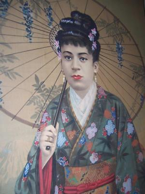 Vintage Japanese Geisha Girl Flower Kimono Fan Parasol Watercolor On Silk 17X43