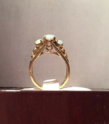 Vintage 14K Yellow Gold Fire Opal 3 Stone Filigree Ring Sz 5.75 Signed EB