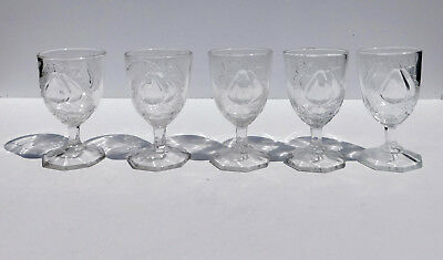Vintage Set of 5 Reproduction Baltimore Pear Water Goblets ~  5 3/8""