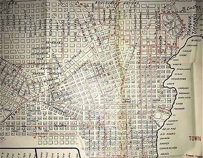 Antique Large Map 1915 - Town Plan of Montevideo, Uruguay Streets Baedeker Rare