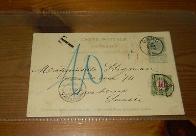 SWITZERLAND POSTAGE DUE: 1894 CARD TO MONTREUX (10c POSTAGE DUE AFFIXED)