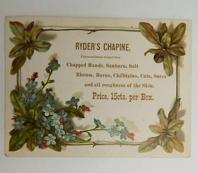 Ryder's Chapine Cure Skin Medicine Treatment Antique Victorian Trade Card