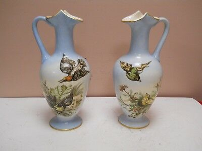 """Late 1800's Pair Old Antique Jersey City Pottery IVW 11 1/4"""" Vase With Birds"""