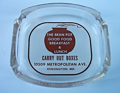 Vintage Advertising Ashtray ACL The Bean Pot Kensington MD Diner Kays Kay's
