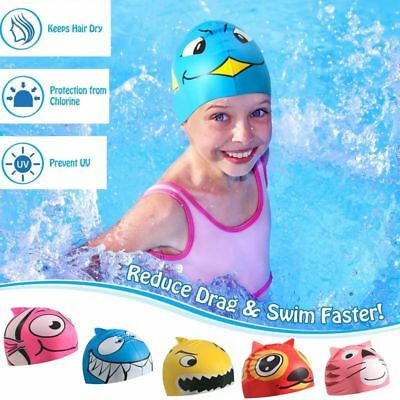 Protective Elastic Silicone Cartoon Swimming Caps Swim Hat for Kids Children