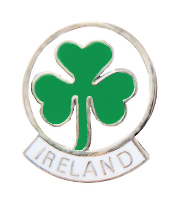 Ireland Lucky Shamrock Round Cut-Out Pin Badge