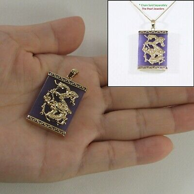14k Solid Yellow Gold Hand Crafted Dragon 22x30mm Lavender Jade Pendant TPJ