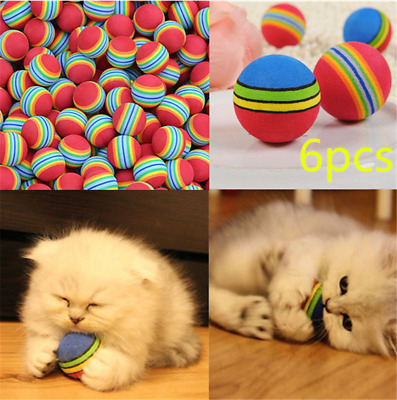 6pcs Colorful Pet Cat Kitten Soft Foam Rainbow Play Balls Funny Activity Toys JP