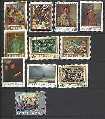 Selection of 11 Romanian used stamps with minor cancellations