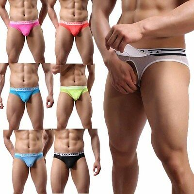 d0e32be6b1d4 Mens Open Front Underwear Brief Sexy Breathable G-string Male Panty Lingerie