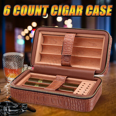 Brown Leather Spanish Cedar Lined Cigar Travel Hydrating Case Humidor 6 Count