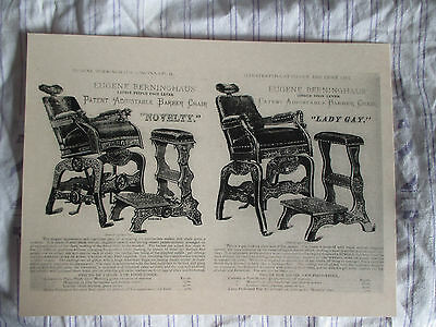 1880's Vintage Walnut Berninghaus Adjustable Barber Chair & Stool Sign Ad Price