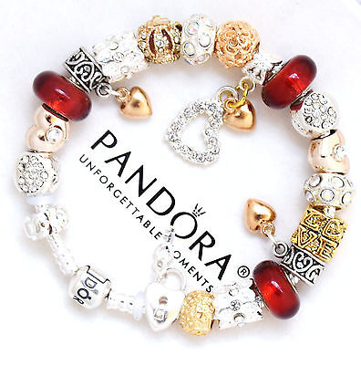 Pandora Bracelet Silver with Red Gold Hearts Valentine Day European Charms New