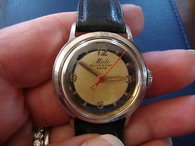 Rare Vintage 1950's Mido Multifort Extra Running And Keeping Time.