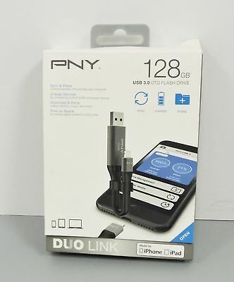 PNY Duo-Link On-the-Go 128GB USB 3.0 Apple Lightning Flash Drive