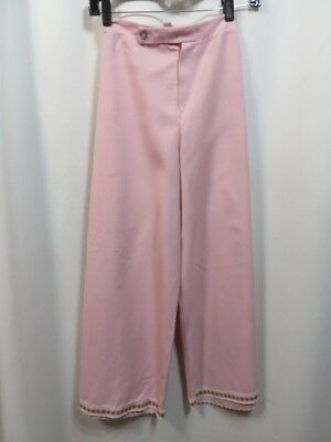 Vintage 70s Pants High Waist Bell Bottom Flare Pink Festival Rayon Blend AS IS