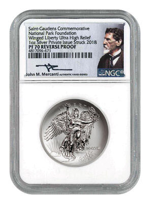 2018 Winged Liberty UHR 1oz Silver Rev Proof Medal NGC PF70 Mercanti SKU53624