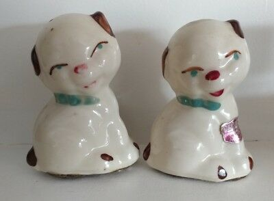 Rare Vintage Shawnee Art pottery Puppy Dog Salt Pepper Shakers w/ Sticker