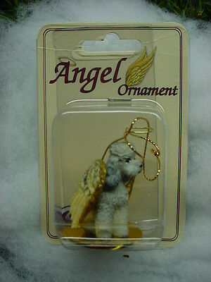 GRAY POODLE puppy DOG ANGEL Ornament HAND PAINTED Resin Figurine Christmas Mini
