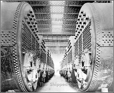 Photo: RMS Titanic's Boilers At The Engine Works At The Harland & Wolff Shipyard