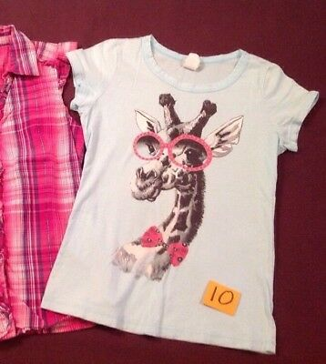 Girls Casual Blue Giraffe  T Shirts Play clothes Size 10/12