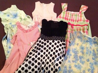 Girls Dress White Blue Green Pink Black Dots Flowers Plaid Size 7 8 10 12 16