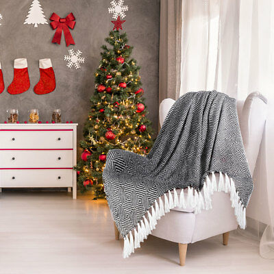 Geometric Pattern Soft Warm Luxury Blanket Faux Fur Knitted Throw Couch Sofa Bed
