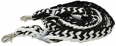 Roping Knotted Horse Tack Western Barrel Reins Rein Nylon Braided BLACK WH 60703