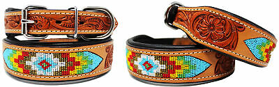 Rhinestone Dog Puppy Collar Crystal Western Cow Leather  6037
