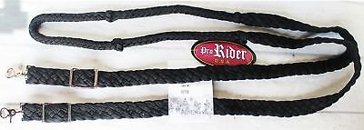 Roping Knotted Horse Tack Western Barrel Reins Rein Nylon Braided Black 60708