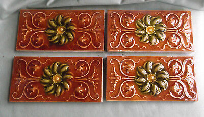 Four Antique Border Tiles - Art Nouveau