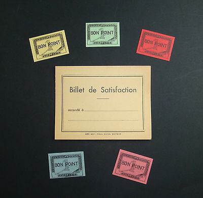 LOT 5 BONS POINTS & BILLET SATISFACTION SCOLAIRE ANCIEN VIERGE ECOLE SCHOOL OLDd