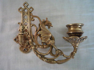 Single Brass Piano Wall Candle Holder Sconce Dragon Griffin Design Gothic Decor
