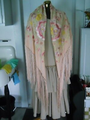 Flamenco Silk Fringed Shawl -Large- Peach/Lilac/Yellow/Green Floral Embroidery