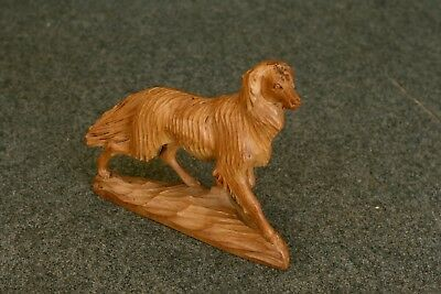 """Vintage Hand Carved in USSR 7.5"""" tall Irish Setter? Wolf Hound? Dog 9"""" long"""