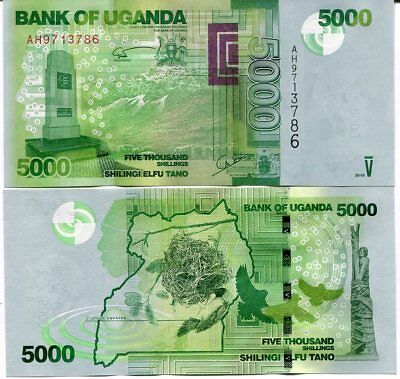 Uganda 5000 5,000 Shillings 2017 2018 P 52 New Date Signature Unc