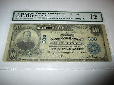 $10 1902 Washington Pennsylvania PA National Currency Bank Note Bill Ch #586 PMG
