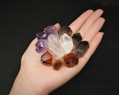 500 Carat Bulk Mixed Amethyst + Citrine + Smokey + Clear Quartz Crystal Points