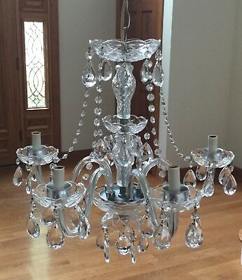 Vintage Crystal Cut Glass Chandelier 5 Arm MURANO Style Glass