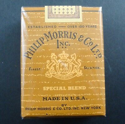 Paquet 20 Cigarettes Philip Morris Co Tobacco Tabacs Ancien Pack Old Made Usa Us